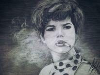Frau, Portrait, Sehnsucht, Kohlezeichnung