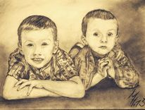 Portrait, Kind, Kohlezeichnung, Kinder