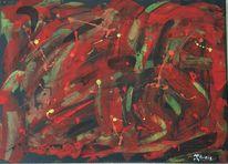 Abstrakt, Acrylmalerei, Flammen, Rot