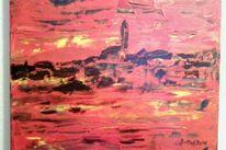 Gelb, Acrylmalerei, Spachteltechnik, Landschaft