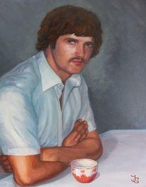 Tasse, Mann, Ölmalerei, Hemd