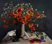 Tasse, Blumenstrauß, Tisch, Mohnblumen