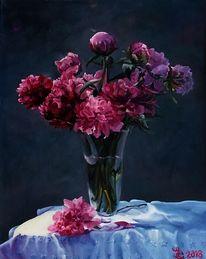 Blumenstrauß, Tisch, Blumen, Ölmalerei
