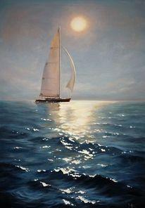 Segelboot, Ölmalerei, Blau, Wasser