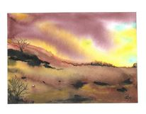 Landschaft, Lila, Aquarell,
