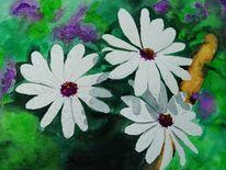 Pflanzen, Blüte, Aquarell, Regen