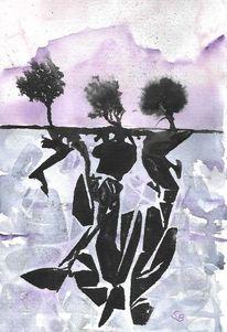 Baum, Berge, Muster, Aquarell