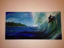 Acrylmalerei, Landschaft, Meer, Surfen