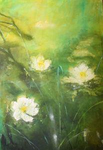 Blumen, See, Abstrakt, Seerosen
