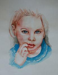 Zeichnung, Gesicht, Kind, Malerei