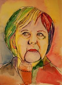 Frau, Merkel, Tv, Aquarell