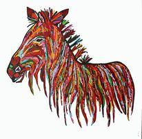 Bunt, Acrylmalerei, Zebra, Rot