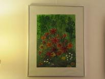 Acrylmalerei, Grün, Rot, Malerei