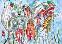 Blumen, Tulpen, Insekten, Tropfen