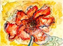 Blumen, Tuschmalerei, Mischtechnik, Feder