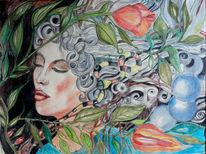 Frau, Traum, Pflanzen, Zeichnungen