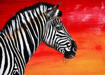 Rot, Afrika, Zebra, Acrylmalerei