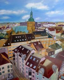 Spaziergang, Spaziergang durch recklinghausen, Malerei, Dach