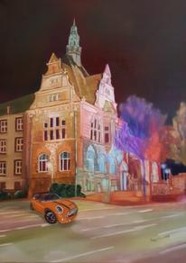 Licht, Spaziergang durch recklinghausen, Nacht, Ölmalerei