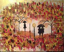 Blätter, Regen, Herbst, Farben