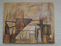 Abstrakt, Acrylmalerei, Haus, Karte