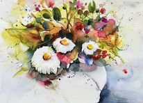 Weiß, Margerite, Blumen, Strauß