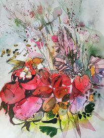 Gras, Rot, Muster, Blumen