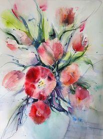 Rote blumen, Tulpen, Aquarellmalerei, Aquarell