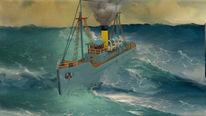 Schiff, Ozean, Meer, Rendering