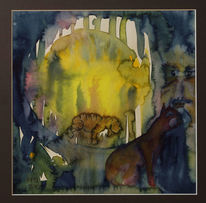 Surreal, Aquarellmalerei, Figural, Aquarell
