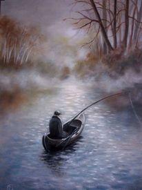 Gewässer, Kalt, Erste sonnenstrahlen, Angler