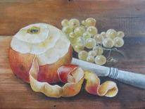 Stillleben, Trauben, Öl auf holz, Früchte