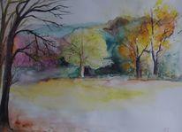 Herbst, Bunt, Landschaft, Baum