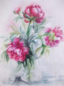 Vase, Pfinstrosen, Aquarell, Pfingstrosen