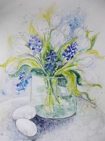 Ostern, Aquarellmalerei, Weiße tulpen, Pflanzen