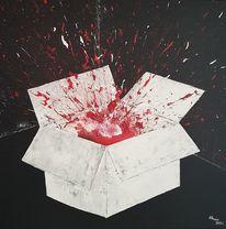 Karton, Kiste, Spritzer, Rot
