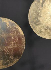 Blattgold, Schwarz, Planet, Mond