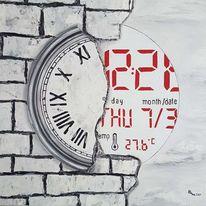 Uhr, Gemäuer, Rot, Digital