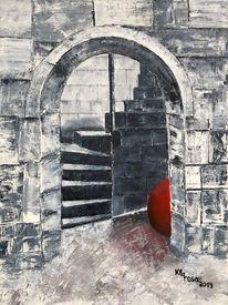 Rot schwarz, Gemäuer, Treppe, Rote kugel