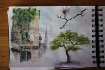 Baum, Gebäude, Aquarellfarben, Aquarellfarbe