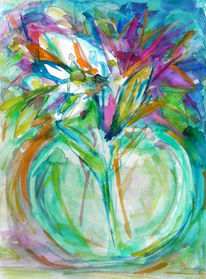Bunt, Blumen, Aquarell,