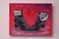 Ölmalerei, Naturrealistisch, Malerei, Schuhe