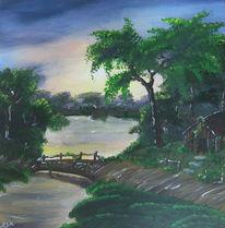 Landschaft, Acrylmalerei, See, Malerei