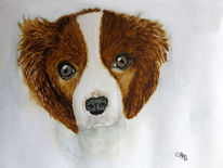 Hund, Welpe, Aquarellmalerei, Aquarell