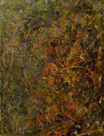 Gelb, Spachtel, Rot schwarz, Abstrakt