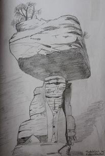 Zeichnung, Teufelstisch, Hinterweidenthal, Felsen
