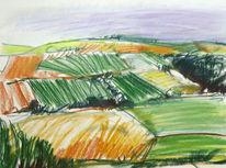 Pastellmalerei, Landschaft, Weinberg, An der mosel