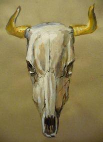 Tiere, Malen, Büffel, Schädel