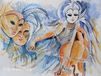 Aquarellmalerei, Menschen, Karneval, Feier