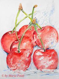 Aquarellmalerei, Kirsche, Früchte, Küche